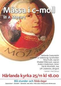 Mozarts c-mollmässa 25 november i Härlanda kyrka